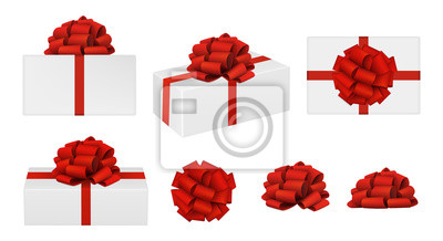 Naklejka Set of vector realistic red bows and gift boxes. top view, side view, perspective view. EPS 10