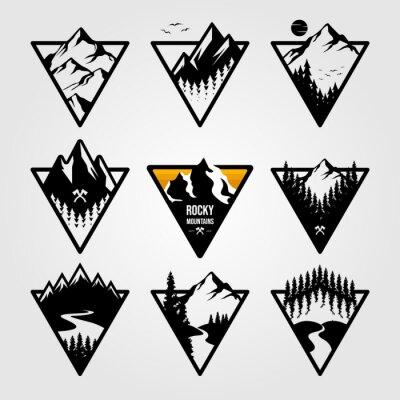 Naklejka set of vintage mountain triangle logo view landscape outdoor adventure vector illustration design