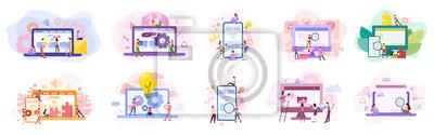 Naklejka Set of website development banner. Web page programming