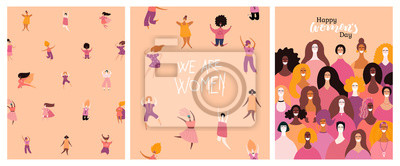 Naklejka Set of womens day cards with diverse women and lettering quotes. Hand drawn vector illustration. Flat style design. Concept, element for feminism, girl power, poster, banner, background.