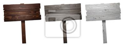 Naklejka Set of wooden signs, isolated on white background
