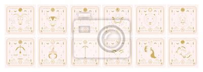 Naklejka Set of zodiac signs icons. Astrology horoscope with signs and planets.