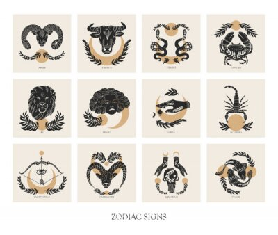 Naklejka Set of Zodiac signs icons in boho style. trendy vector illustrations.