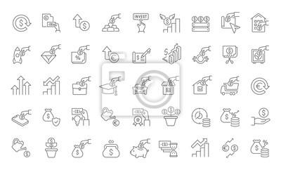 Naklejka Set Vector Line Icons of Investment