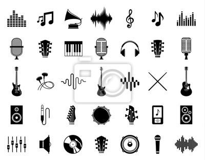Naklejka Set wektorowe muzyczne ikony odizolowywać na bielu