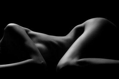Naklejka Sexy ciało naga kobieta. Naked zmysłowa piękna dziewczyna. Artystyczne czarno-białe zdjęcie.