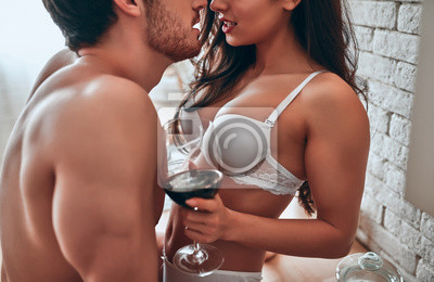 Naklejka Sexy couple on kitchen