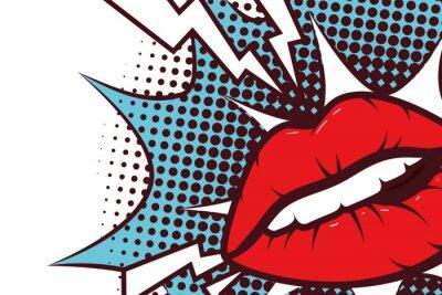 Naklejka sexy woman mouth with splash expression pop art style