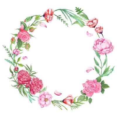 Naklejka Shabby Chic wieniec kwiatów