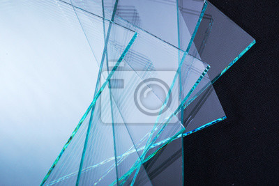 Naklejka Sheets of Factory manufacturing tempered clear float glass panels cut to size