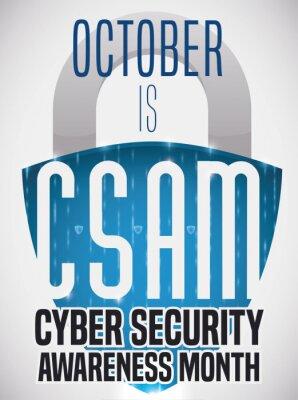 Naklejka Shield Shaped Padlock Promoting Cyber Security Awareness Month, Vector Illustration