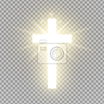 Naklejka Shining cross isolated on transparent background. Riligious symbol. Glowing Saint cross. Easter and Christmas sign. Heaven concept. Vector illustration