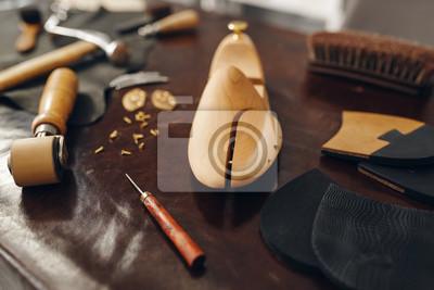 Naklejka Shoemaker tools, footwear repair service, nobody