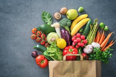 Naklejka Shopping bag full of fresh vegetables and fruits