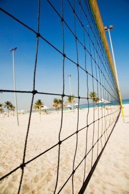 Naklejka siatka do siatkówki na plaży