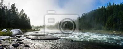 Naklejka Siberian Balyiktyig hem river in Sayan mountains in early foggy morning.