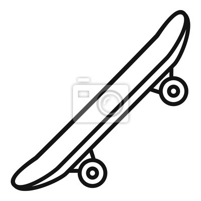 Naklejka Side modern skateboard icon. Outline side modern skateboard vector icon for web design isolated on white background