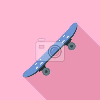 Naklejka Side of skateboard icon. Flat illustration of side of skateboard vector icon for web design