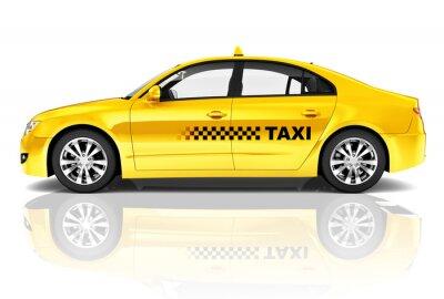 Naklejka Side View Studio Strzałów Żółty Sedan Taxi Car