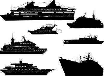 Naklejka siedem statków sylwetki odizolowane onwhite