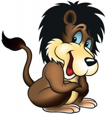 Naklejka Siedząc Lion - Cartoon kolorowych ilustracji wektorowych