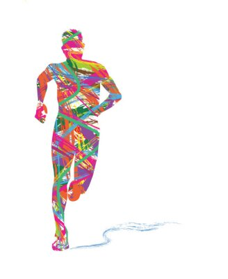 Naklejka silhouette astratta di uomo che corre