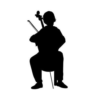Naklejka Silhouette boy playing musical instrument Cello.