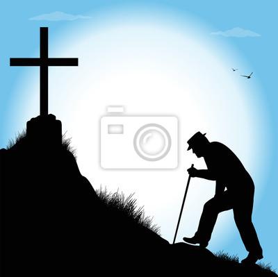 Naklejka silhouette di anziano che cammina verso una croce