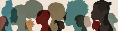 Naklejka Silhouette face head in profile ethnic group of black African and African American men and women. Identity concept - racial equality and justice. Racial discrimination. Racism