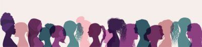 Naklejka Silhouette group of multiethnic women who talk and share ideas and information. Women social network community. Communication and friendship women or girls of diverse cultures. Speak
