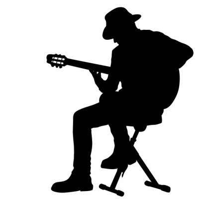 Naklejka Silhouette musician plays the guitar on a white background