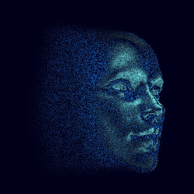 Naklejka Silhouette of a 3d human head made of dots and particles. Concept of Artificial intelligence and Neural Network.