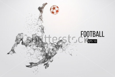 Naklejka Silhouette of a football player. Dots, lines, triangles, text, color effects and background on a separate layers, color can be changed in one click. Vector illustration