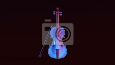 Naklejka Silver Violin with Red Blue Moody 80s lighting Front 3d illustration 3d render