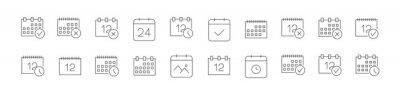 Naklejka Simple line set of calendar icons.
