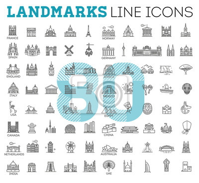 Naklejka Simple linear Vector icon set representing global tourist landmarks and travel destinations for vacations