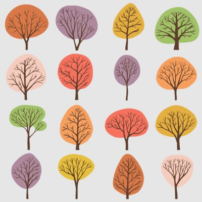 Naklejka Simplicity tree freehand drawing flat design collection.