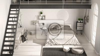 Naklejka Skandynawska Biała Minimalistyczna Sypialnia Na