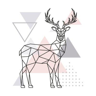 Naklejka Skandynawski jeleń, widok z boku. Geometryczna wektorowa ilustracja.