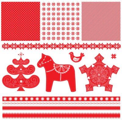 Naklejka Skandynawski Narodzenie Red and White dekoracje Set