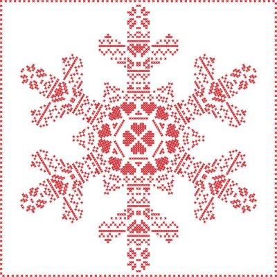 Naklejka Skandynawski Nordic krzyż szycia, dziania Narodzenie wzór w kształcie płatka śniegu, z krzyżem ramy ściegu tym, śnieg, serca, gwiazdy, elementy dekoracyjne w kolorze czerwonym na białym tle