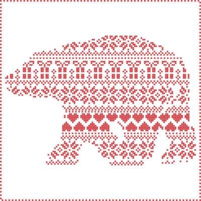 Naklejka Skandynawski Nordic zimą szwy dziania Narodzenie wzór w kształcie niedźwiedzia polarnego, w tym płatki śniegu, serca Xmas drzew Boże Narodzenie prezenty, śnieg, gwiazdy, dekoracyjne ornamenty na biały