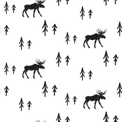 Naklejka Skandynawski styl proste czarno-białe jelenie szwu. Jelenie i sosny monochromatyczny sylwetka wzór.