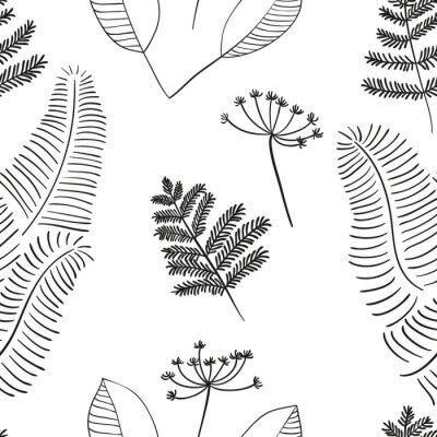Naklejka Skandynawski wektor kwiatowy szwu. Proste ręcznie rysowane elementy w stylu skandynawskim. Reapiting skład tileable dla swojego projektu.