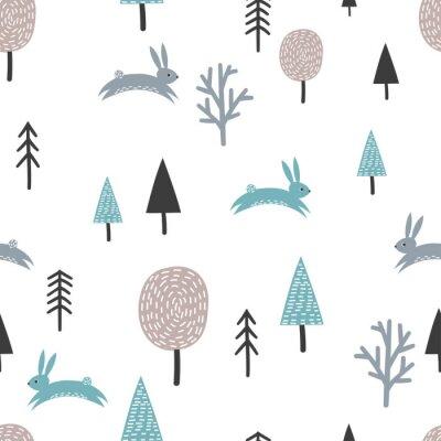 Naklejka Skandynawski wzór z słodkie króliki i drzewa. Tło wektor lasu.