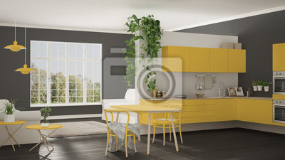 Skandynawski żółty Pokój Minimalistyczny Z Kuchnią Otwartą Przestrzeń Naklejki Redro