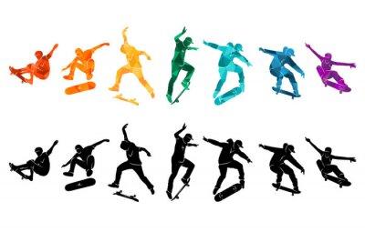 Naklejka Skate people silhouettes skateboarders colorful vector illustration background extreme skateboard, skateboarding
