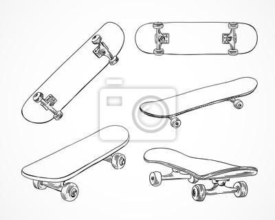 Naklejka Skateboarding ilustracji wektorowych. Ręcznie zarysowane deskorolki