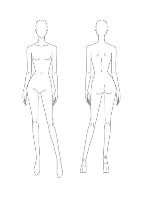 Naklejka Sketch of the female body. Girl model. Front and back view. Female body template for drawing clothes. You can print and draw directly on the thumbnails. Fashion Illustration.