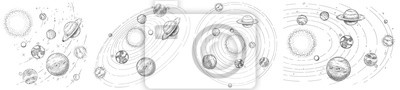 Naklejka Sketch solar system. Hand drawn planets orbits, planetary and earth orbit vector illustration set. Astronomy themed coloring book drawings pack. Celestial bodies orbiting around sun in center